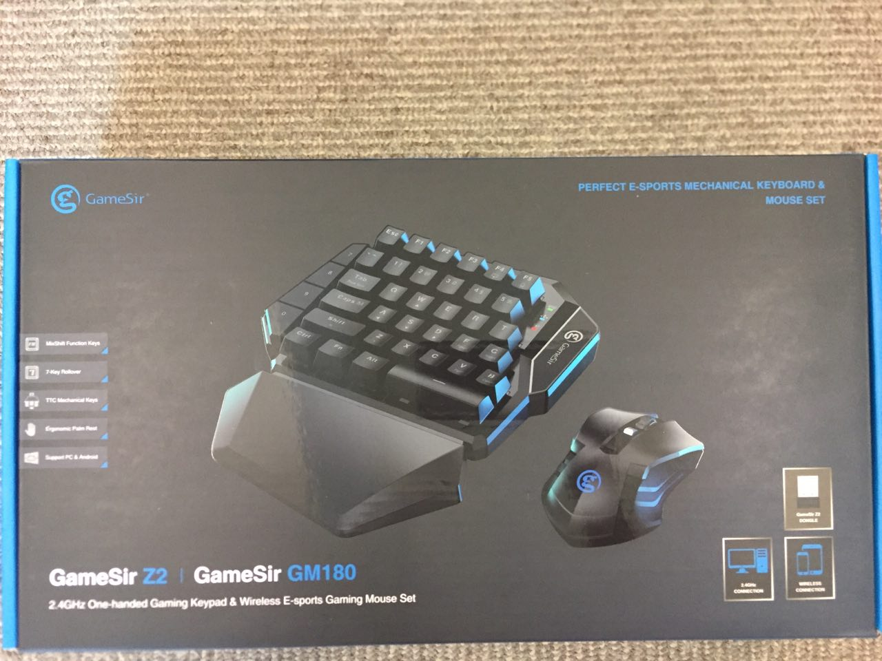 GameSir Z2 E-sports Gaming Wireless Keypad Mouse Combo 2.4GHz One-handed Blue Switch Keyboard For FPS Games - Black